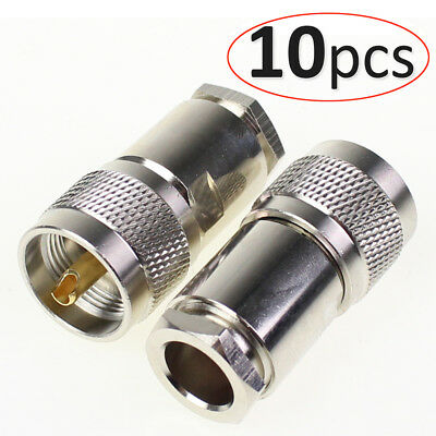 Pack 10 x UHF PL259 male clamp Plug connector for LMR400 RG8 RG213 RG214 cable