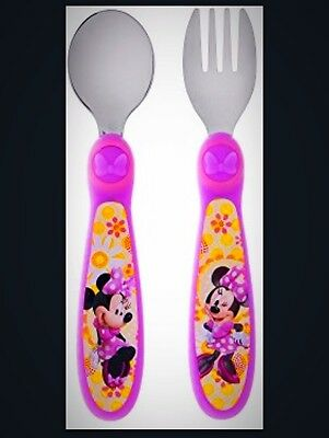 The First Years Disney Baby Minnie Mouse Easy Grasp Flatware Child Toddler New