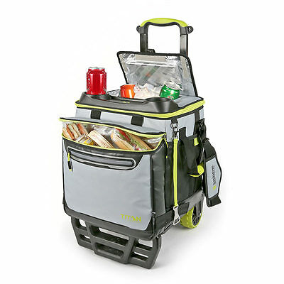 Titan 22.5 Litre (23.7 US Quart) 60 Can Rolling Cooler with All Terrain Cart -