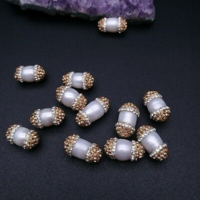 HB037 10PCS 10x15mm White Rice Pearl Beads Trimmed With Crystal Zircon