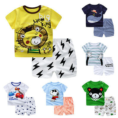 Baby Boy Girl Kid Child Summer Clothes Sunsuit Tops T Shirts +Pants Trousers Set