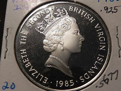 British Virgin 1985 Ship And Dutch Cannons 20 Dollars Silver Coin,Proof