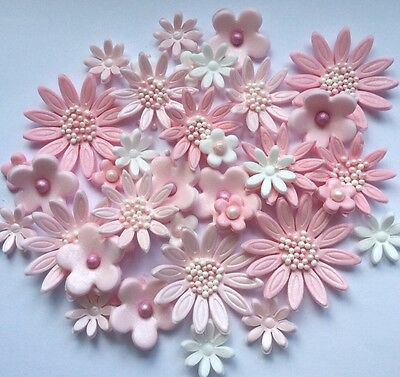 36 Edible Pink and White Delicate Sugar Paste Flower Cake Decorations