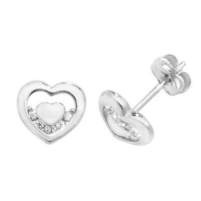 Pair of 9ct White Gold 6x5mm Small Heart Cz Stud Earrings Weight 0.65g
