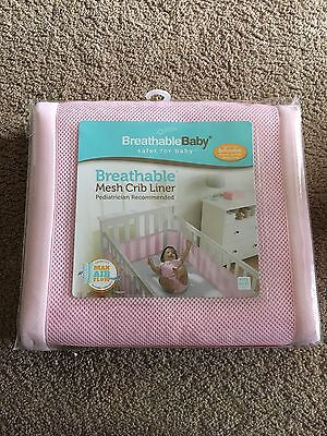 Brand New Breathable Baby Pink Mesh Crib Liner
