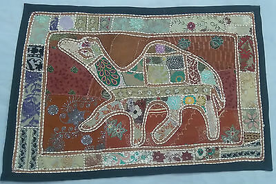 Handmade-Camel-Bohemian-Patchwork-Wall-Hanging- Embroidered Vintage Tapestry