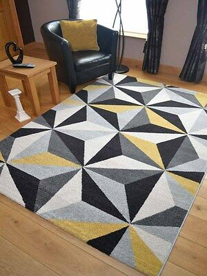 Small Extra Large Modern Ochre Yellow Gold Triangle Floor Carpet Mat Rugs Cheap