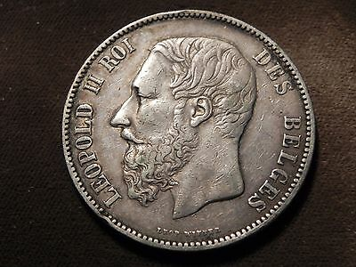 BELGIUM 1873 5 Francs Silver Crown XF Free Shipping. !
