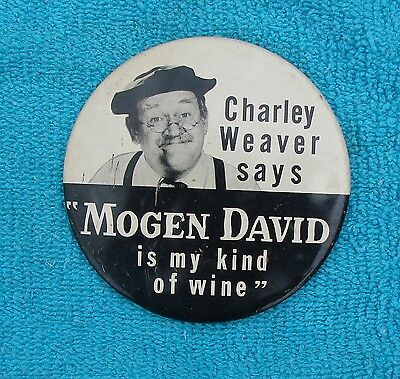 Vintage Large Charley Weaver-Mogen David Wine Ad Button/Pin-Green Duck Co
