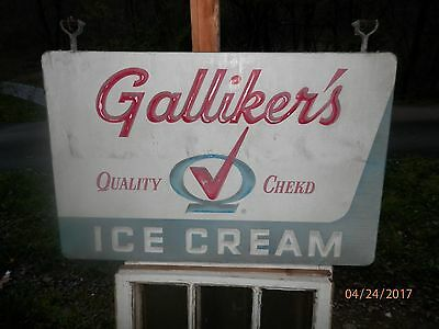 """1950's Gallikers Quality Chekd Metal Ice Cream Double Sided Hanging Sign.45"""" X 2"""