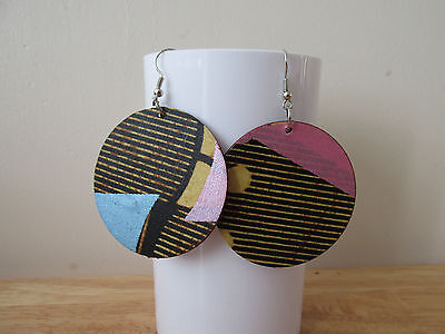 Achebe African Ankara wax fabric Tribal totem Ethnic round Earrings