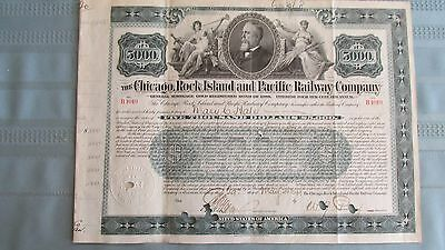 1899 Chicago Rock Island & Pacific Railroad $5,000 Gold Bond-Signed-Cancelled