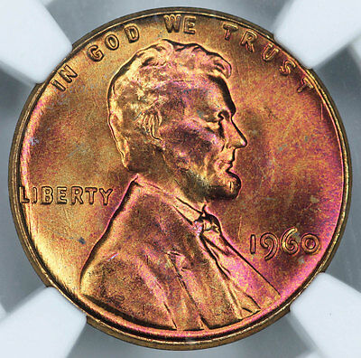1960 Lg Date NGC MS66RB Attractively Toned Lincoln Cent
