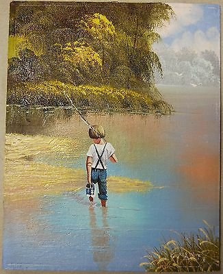 """Signed Child Fishing - Original Oil Painting on Plywood 8"""" X 10"""""""
