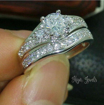 2Ct Round Cut Diamond Solitaire Engagement Bridal Ring Set 14k White Gold Over