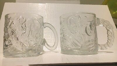 Batman Forever The Riddler & Two Face McDonald's Glass Mugs 1995 DC