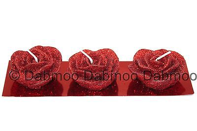 3pc Hand Made Beautiful Glitter Rose Bud shaped Decorative Candles Home Decor