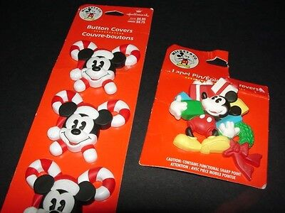 Disney MICKEY MOUSE - button covers - pin brooch - by HALLMARK - new old stock