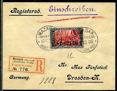 DP Marokko Mi 33 A  Reko-Brief  Mazagan  Dresden  1905