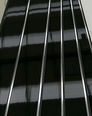 Plain Black Gloss Wall Panels with Double Chrome V Groove Strip PVC Wall Panels