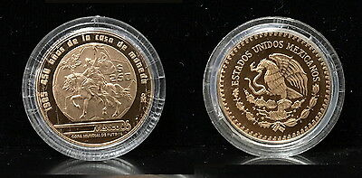 Mexico  Stunning 1985 250 Pesos  Gem Proof Gold 1/4 Ounce World Cup--In Capsule