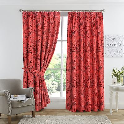 "Tropical Palm Birds Coral Terracotta Fully Lined Thermal 3""Tape Top Curtains Set"