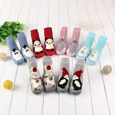 Anti-slip Baby Child Rubber Cotton Warm Slipper Toweling Floor Socks Shoes Boots