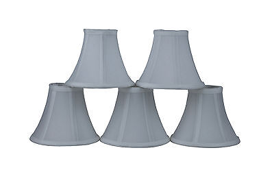 Furnishland Set of 5 Off White  Chandelier shade,Faux Silk,Bell Shape,Clip on