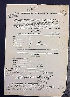 ARGENTINA 1833 MENDOZA to CORDOBA POSTAL MANIFEST with DETAILS SIGNED