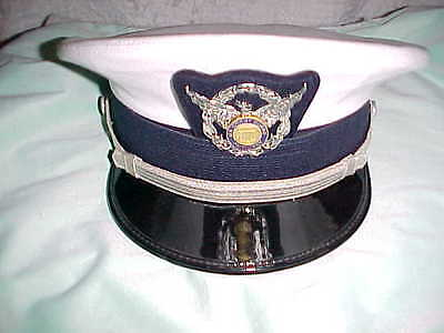 Uscg Auxiliary Slightly Used White  Cloth Officer Service Cap Size 7 1/2