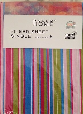 Cotton Fitted Sheet Country Striped Patterned Coloured all Over