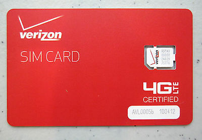 New Genuine Verizon Wireless Nano 4Ff Sim Card 4G Lte