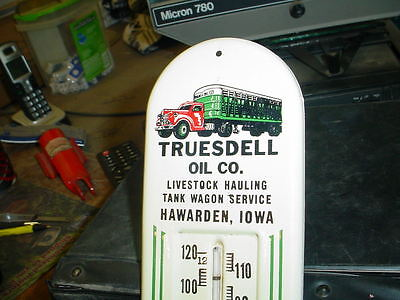 Old Advertising Metal Thermometer Truesdell Oil Co. Truck Graphics-Iowa