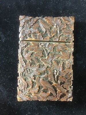 Antique Highly Detailed Carved Asian Card Box