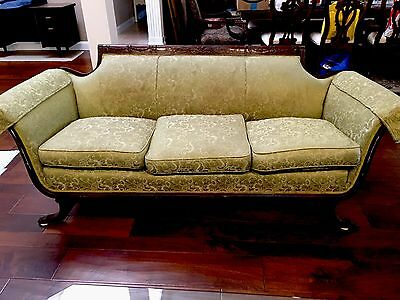Antique American Empire Solid Carved Wood Frame Sofa