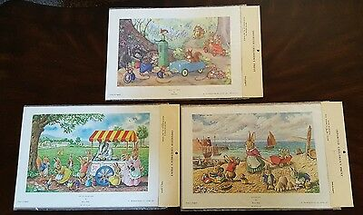 Vintage Lot of 3 Childrens Art Prints Rabbits by Racey Helps & Molly Brett NEW