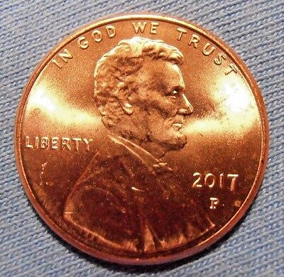 2017 P Lincoln Cent BU From Bank Roll, Bright New Red Coin, FREE PROMPT SHIPPING