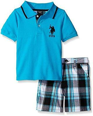 U.S. Polo Assn Toddler/Little Boys S/S Polo 2pc Short Set Size 2T 3T 4T 4 5 6 7