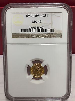 1854 Type 1 Liberty Gold Coin NGC Graded MS 63
