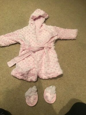 Baby's Pink Dressing Gown With Slippers 0-6 Months