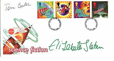 Dr Who Science Fiction 1995 Fdc Double Signed By Tom Baker & Elisabeth Sladen