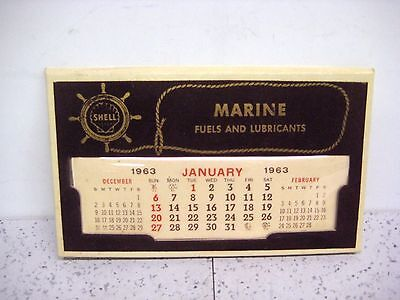 Vintage Shell 1963 Marine Fuels and Lubrication Desk Calendar Free Shipping