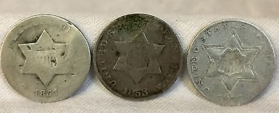 1851, 53, 56 U.s. Three Cent Silver Type 1  & Type 2 All With Full Dates