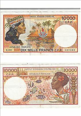 Billet banque FRENCH PACIFIC TAHITI POLYNESIE OUTRE-MER 10000 F Z.001 200