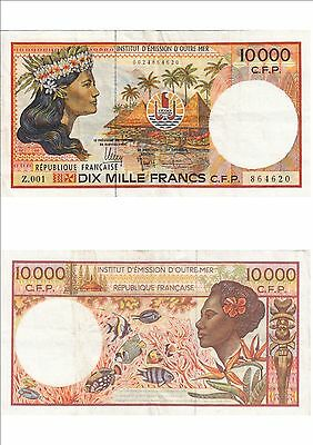 Billet banque FRENCH PACIFIC TAHITI POLYNESIE OUTRE-MER 10000 F Z.001 620