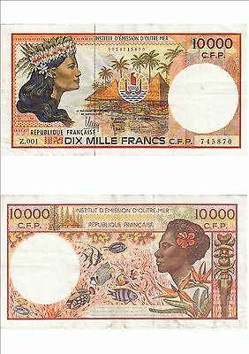 Billet banque FRENCH PACIFIC TAHITI POLYNESIE OUTRE-MER 10000 F Z.001 870