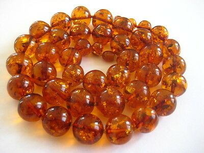 Bernsteinkette Baltic Amber Necklace Cognac Beads Balls