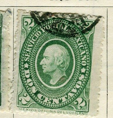 MEXICO;   1884 early classic Hidalgo issue fine used 2c. value