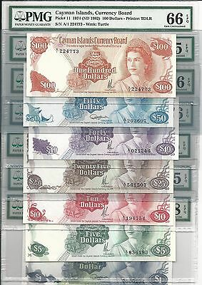 1971-1974 Cayman Islands Complete Set 7 Notes, All PMG GEM UNC, Rare $50, 100