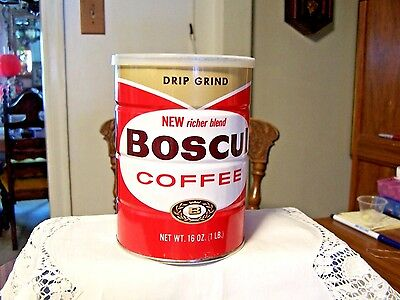 Vintage BOSCUL COFFEE Full 1 Lb. CAN DRIP GRIND Camden NJ OLD STORE STOCK